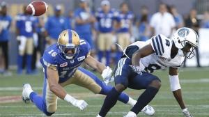 Winnipeg Blue Bombers' Taylor Loffler (16) knocks down Dan LeFevour's (18) pass intended for Toronto Argonauts' Kenny Shaw (8) during second half CFL action in Winnipeg, Saturday, September 17, 2016. (Source: John Woods/The Canadian Press)