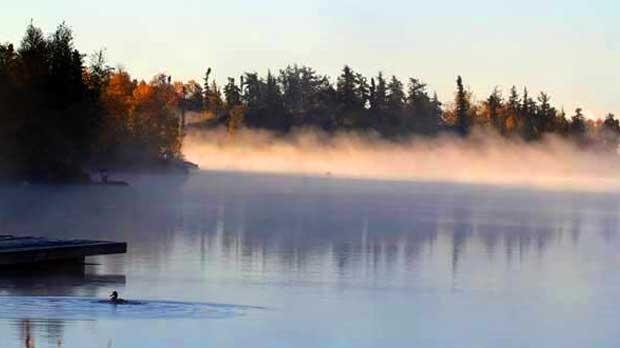 Early morning fog at Flin Flon. Photo by Jim Mote.