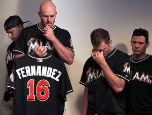 Miami Marlins manager Don Mattingly struggles with his emotions as he speaks during the team's press conference about the death of Jose Fernandez, Sunday, Sept. 25, 2016. (Carl Juste / Miami Herald)