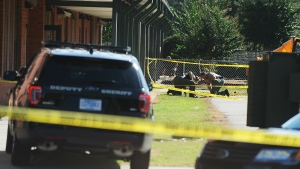 Members of law enforcement investigate an area at Townville Elementary School in Townville, S.C. on Wednesday, Sept. 28, 2016. (AP / Rainier Ehrhardt)