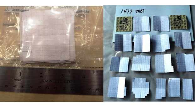 Police said they found 1477 blotter tabs with an estimated street value of about $30,000. (Source: Winnipeg Police Service)
