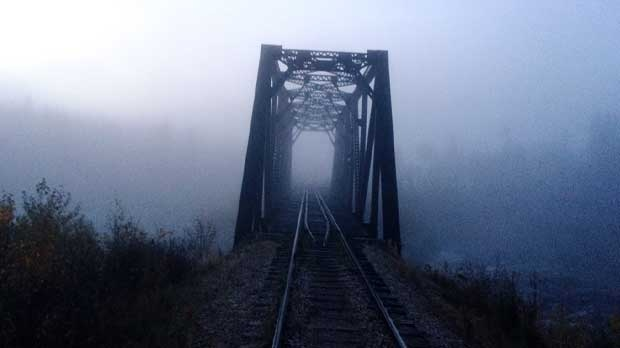 Railway tracks over Churchill river. Photo by Clifford Nabess.