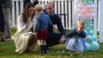 Prince William, and his wife Kate, the Duke and Duchess of Cambridge, take part in a tea party with their children Prince George and Princess Charlotte at Government House in Victoria, Thursday, Sept. 29, 2016. (THE CANADIAN PRESS/Jonathan Hayward)
