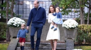 Prince William, and his wife Kate, the Duke and Duchess of Cambridge, arrive at a tea party with their children Prince George and Princess Charlotte at Government House in Victoria, Thursday, Sept. 29, 2016. (THE CANADIAN PRESS/Jonathan Hayward)
