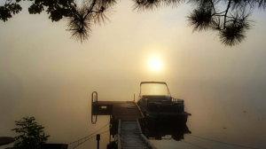 Fog over the Winnipeg River in St. Georges, MB. Photo by Lynn Chevrefils.