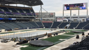 Preparations for the NHL Heritage Classic are underway at Investors Group Field. (Photos: Josh Crabb/CTV Winnipeg)