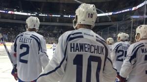 The Winnipeg Jets alumni practice ahead of the NHL Heritage Classic alumni game. (Photo: Shawn Churchill)