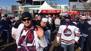 Fans of the original Winnipeg Jets can finally gloat after their retro players beat a lineup of classic Edmonton Oilers. (Photo: Scott Andersson)