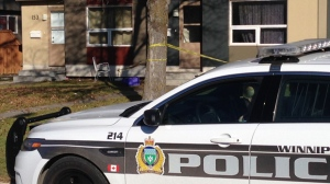 Police tape could be seen outside a residence in the 100 block of Lumsden Avenue. (Photo: Gary Robson/CTV Winnipeg)