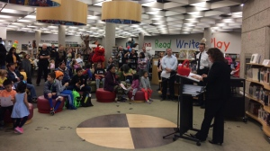 Sesame Street characters participated in a reading event at Millennium Library for kids affected by crime within their families. (Photo: Beth Macdonell/CTV Winnipeg)