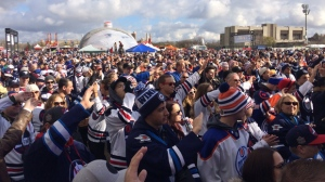 The start of the Heritage Classic game between the Edmonton Oilers and Winnipeg Jets was delayed an hour on Sunday by sunlight melting the ice. (Photo: Shelden Rogers/CTV Winnipeg)