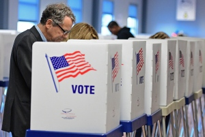 U.S. Sen. Sherrod Brown, D-Ohio, casts his vote ahead of the Nov. 8 presidential election, at the Cuyahoga County Board of Elections Tuesday, Oct. 25, 2016, in Cleveland. (AP / David Dermer)