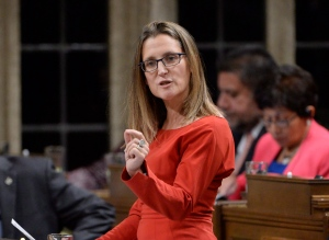 International Trade Minister Chrystia Freeland answers a question in the House of Commons on Monday, Oct. 24, 2016. (Adrian Wyld / THE CANADIAN PRESS)