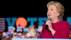 Democratic presidential candidate Hillary Clinton speaks at a rally at Broward College in Coconut Creek, Fla., Tuesday, Oct. 25, 2016. (AP Photo / Andrew Harnik)