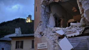 A damaged building is seen in Visso, central Italy following an earthquake that destroyed part of the neighbourhood, on Thursday, Oct 27, 2016. (AP / Sandro Perozzi)
