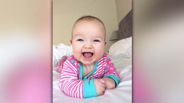 Nicole Dube's second child Anna Victoria is now four months old and is already keeping her mother on her toes.