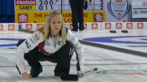 Jennifer Jones downed defending champion Rachel Homan of Ottawa 8-6 in a showdown for first place Friday night as the seven-team round robin concluded.