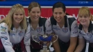 Team Jennifer Jones celebrates after beating Team Rachel Homan at the Canada Cup of Curling in Brandon on Sunday.