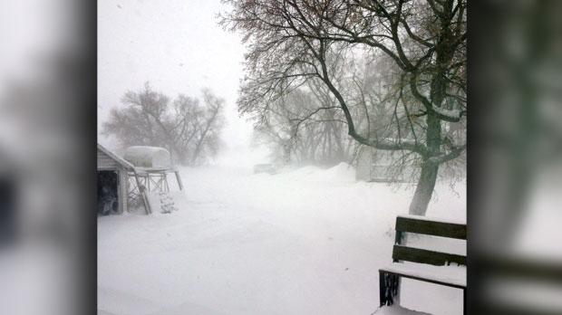Too much snow blowing overnight. Photo by Karen Bauer.