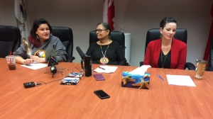 At a press conference in Winnipeg Thursday, Leslie Spillett with Ki Ni Ka Nichihk said a woman was drugged and sexually assaulted after trying to cab home. (Sarah Plowman/CTV Winnipeg)