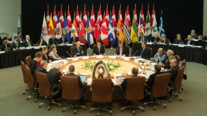 Prime Minister Justin Trudeau, U.S. Vice-President Joe Biden, Premiers and Indigenous leaders meeting in Ottawa, on Dec. 9, 2016. (Adrian Wyld / THE CANADIAN PRESS)