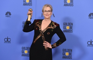 Meryl Streep poses in the press room with the Cecil B. DeMille award at the 74th annual Golden Globe Awards at the Beverly Hilton Hotel in Beverly Hills, Calif. on Sunday, Jan. 8, 2017. (Jordan Strauss / Invision)