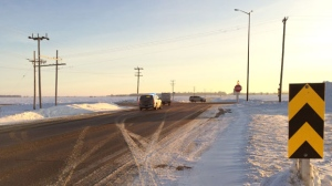 Manitoba Highways said the junction of Highway 44 and Highway 12 near Beausejour, Man. is closed due to the crash. (Source: Jamie Dowsett)
