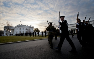 Honor guards from different branches of the U.S. Armed Forces, march on the North Lawn driveway of the White House in Washington, Sunday, Jan. 15, 2017, during rehearsal for the presidential inauguration on Jan. 20, 2017. (AP Photo/Manuel Balce Ceneta)