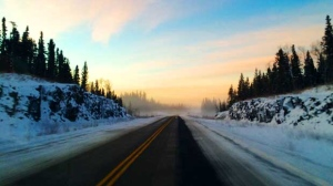 Morning road trip along Cross Lake. Photo by Isabelle Ross.