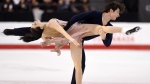 Tessa Virtue and Scott Moir skate to goald as they compete in the senior ice dance free dance at the National Skating Championships in Ottawa on Saturday, Jan. 21, 2017. (THE CANADIAN PRESS / Sean Kilpatrick)
