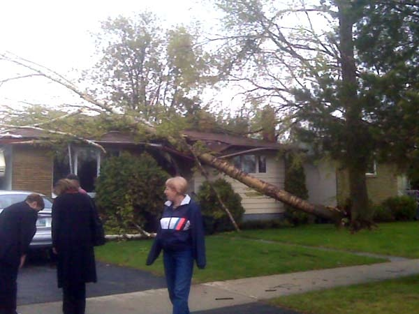 Viewer Sheldon Novak sent in this picture of wind damage in St. James after the Monday evening storm. June 1, 2009