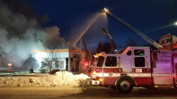 Fire breaks out at Main Street A&W   CTV News