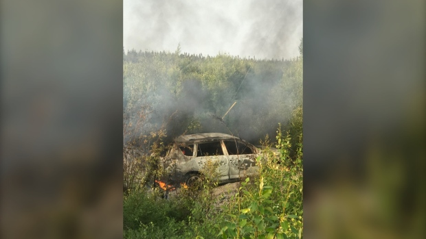 Car found burned in Gillam area used by suspects in B C