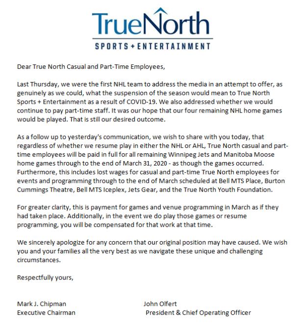 True North Email to Staff