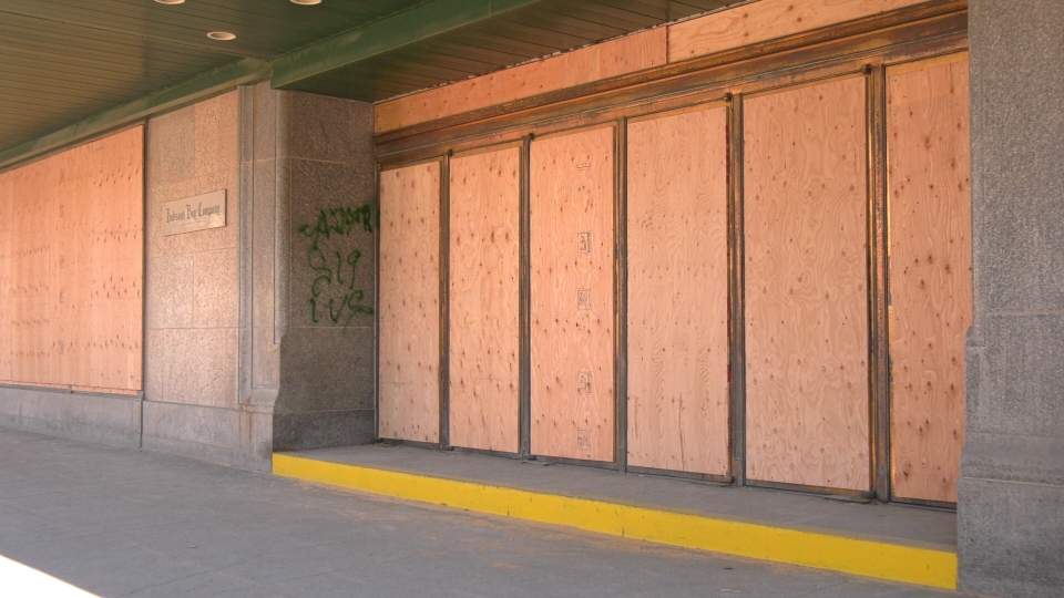 Bay downtown boarded up