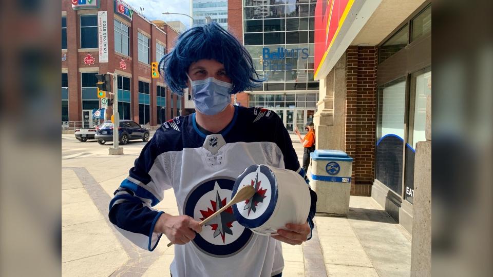 Jets fan with pail