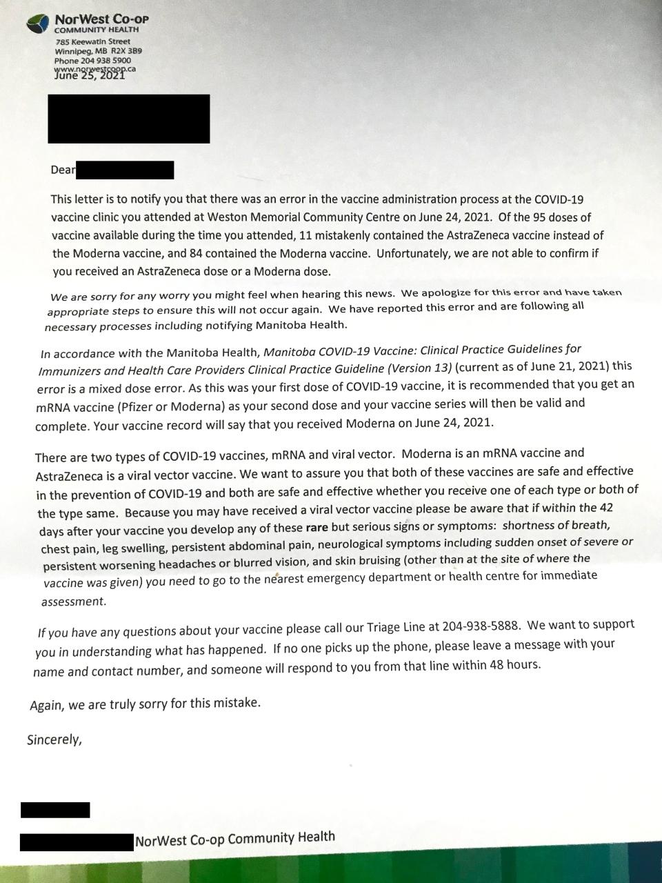 NorWest Co-op Community Health letter