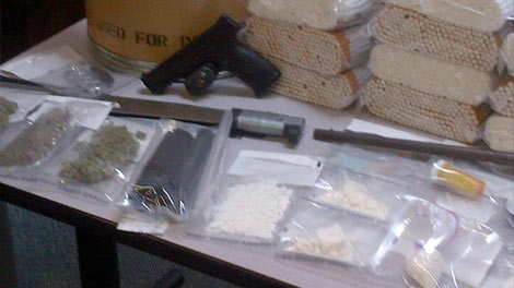 RCMP showed off items on May 18, 2012 that were seized earlier in the week in a raid in Portage la Prairie.
