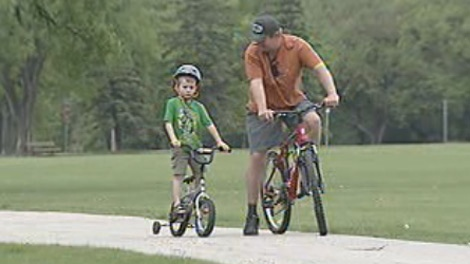 Four-year-old Liam Antonishin never gets on a bike without his helmet.