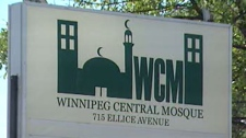 Numerous cars were vandalized outside Winnipeg Central Mosque after a service Thursday.