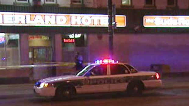 Winnipeg police were on scene at Main Street and Higgins Avenue Friday night.