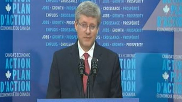 Prime Minister Stephen Harper speaks about the funding for Lake Winnipeg research in Gimli on August 2, 2012.