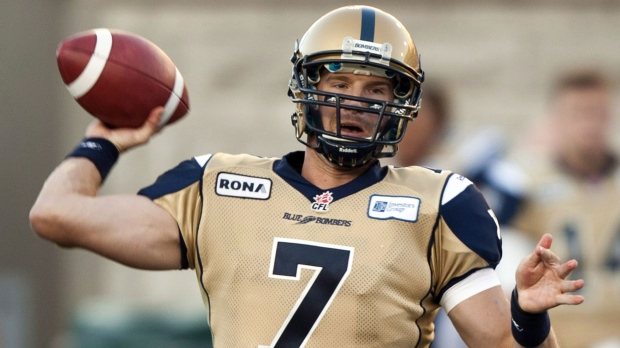 Winnipeg Blue Bombers quarterback Alex Brink (file image from The Canadian Press / Ryan Remiorz)
