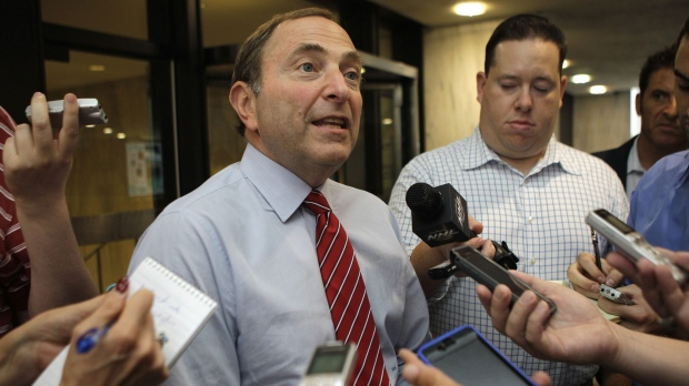 Gary Bettman speaks to reporters about ongoing labor talks with the NHL Players Association.