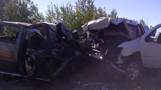 Pickup truck crash