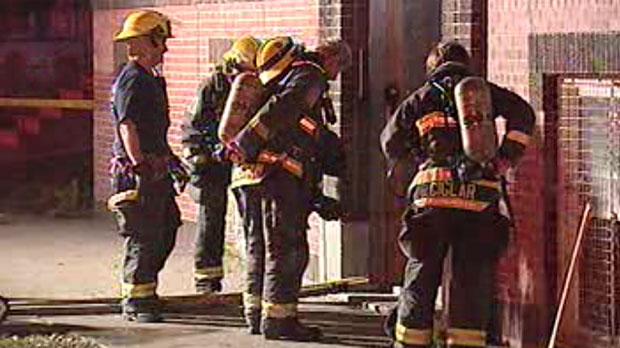 Fire crews work to extinguish a blaze in a Sherbrook Street apartment building.