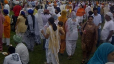 Thousands of Winnipeg's Sikh community gathered in Memorial Park to celebrate.