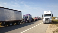 Trucks converge on the Perimeter Highway to raise money for Special Olympics Manitoba.