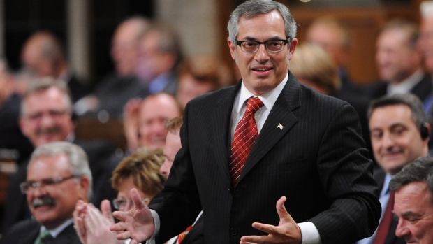 Treasury Board President Tony Clement responds to a question during question period
