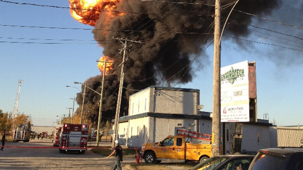 Several explosions could be seen as the St. Boniface blaze burned on Nicolas Avenue in Winnipeg on Oct. 1, 2012. (photo courtesy Jennifer Walker)